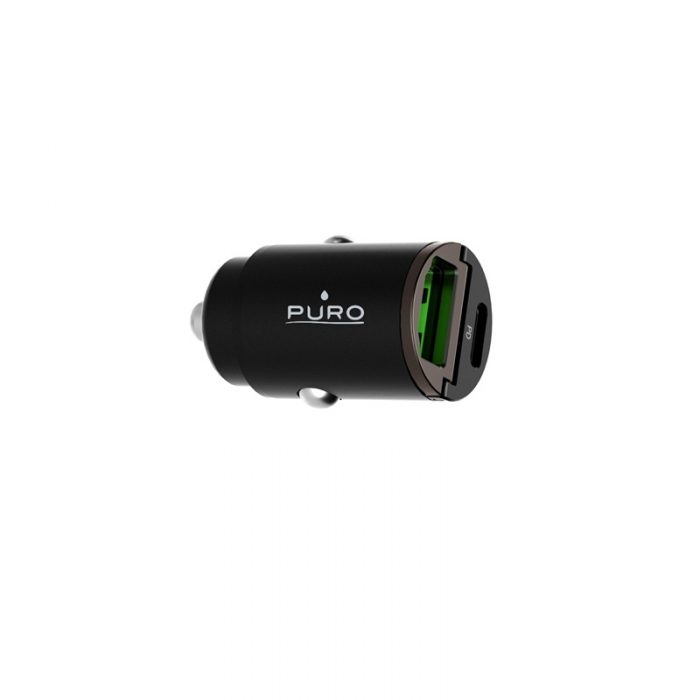 car chargers - puro mini car fast charger usb-a + usb-c power delivery 30w (black) - 3 - krytarna.cz