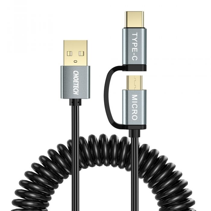 cables - choetech microusb + usb-c cable 1.2m - 1 - krytarna.cz