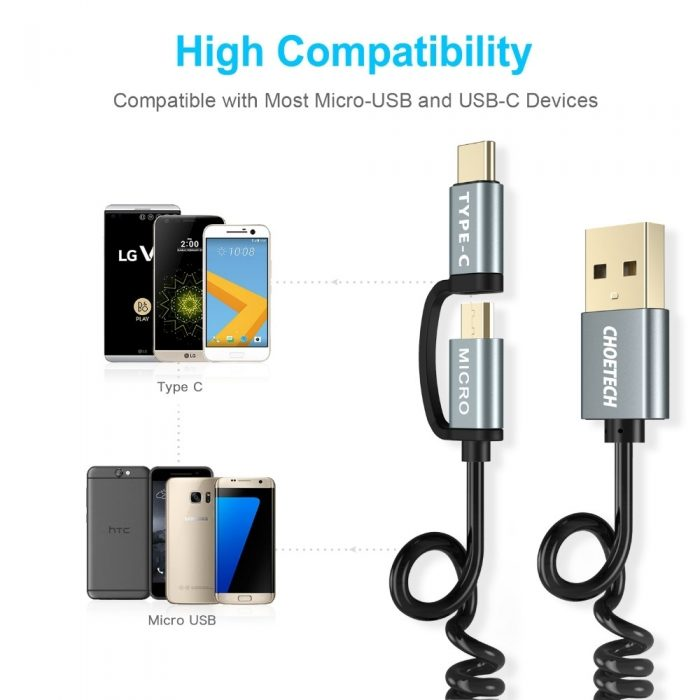 cables - choetech microusb + usb-c cable 1.2m - 4 - krytarna.cz