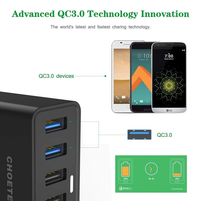 cables - choetech charger stand qc3 6-port usb 50w black - 2 - krytarna.cz
