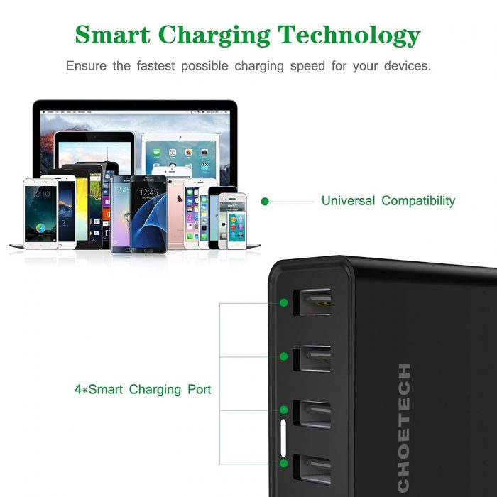cables - choetech charger stand qc3 6-port usb 50w black - 3 - krytarna.cz