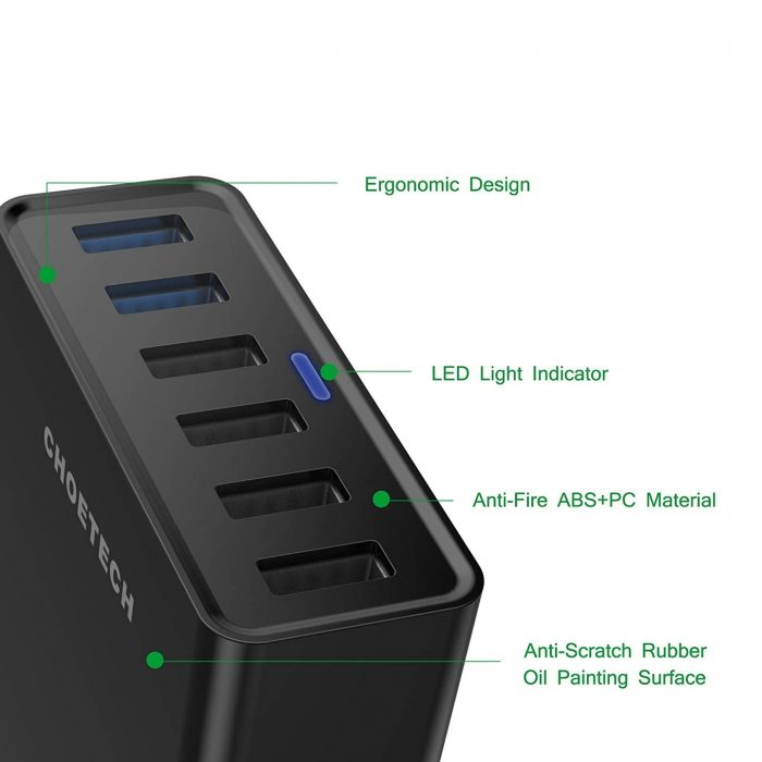 cables - choetech charger stand qc3 6-port usb 50w black - 4 - krytarna.cz
