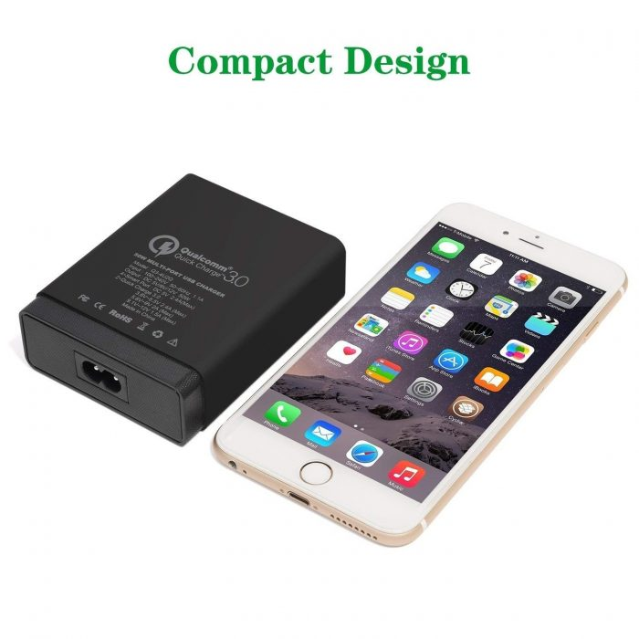 cables - choetech charger stand qc3 6-port usb 50w black - 5 - krytarna.cz