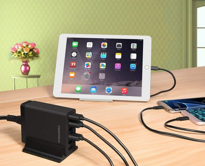 cables - choetech charger stand qc3 6-port usb 50w black - 7 - krytarna.cz