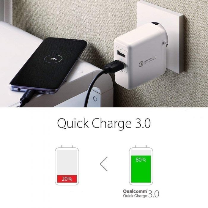 cables - spigen wall charger f207 quick charge 3.0 white - 6 - krytarna.cz
