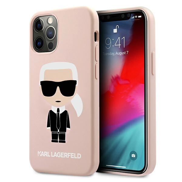 iphone 12 pro - karl lagerfeld klhcp12mslfkpi apple iphone 12/12 pro hardcase light pink silicone iconic - 1 - krytarna.cz