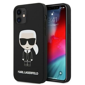 iPhone 12 mini - Karl Lagerfeld KLHCP12SSLFKBK Apple iPhone 12 mini hardcase black Silicone Iconic - 1 - krytarna.cz