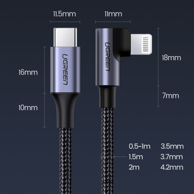 usb-c - lightning - ugreen mfi elbow usb type c - lightning cable power delivery 3 a 1
