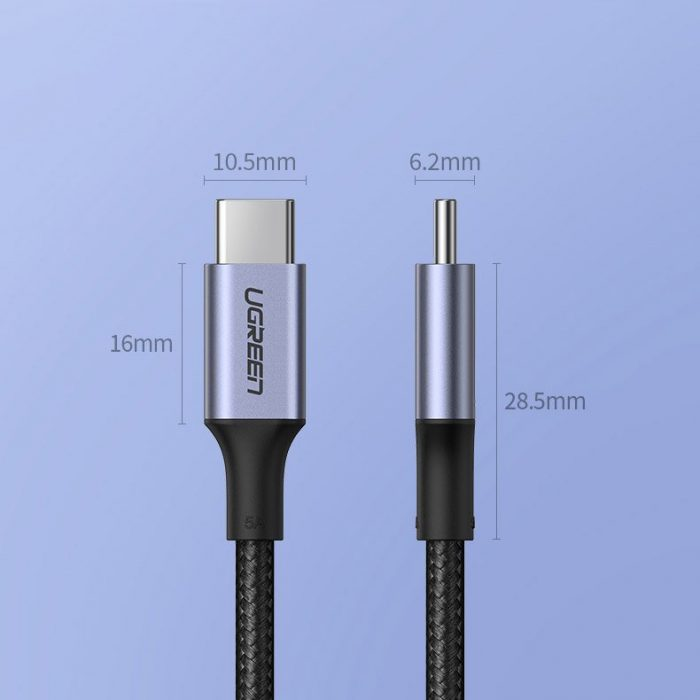 ugreen usb type c - usb type c cable 5 a 100 w power delivery quick charge 3.0 fcp 480 mbps 2 m gray (70429 us316) - export 1044