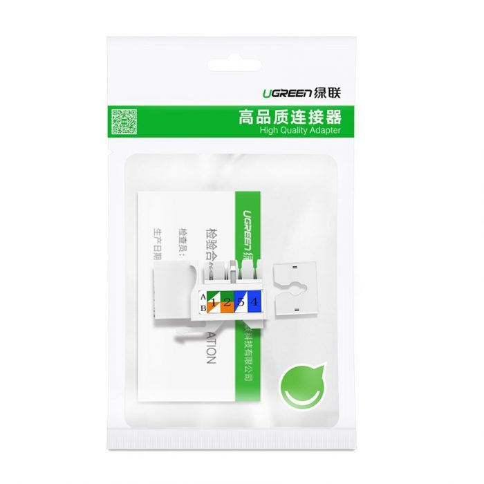 ugreen unshielded network modules keystone ethernet cat 5e 8p8c rj45 100 mbps 568a/b white (80176 nw142) - export 1142