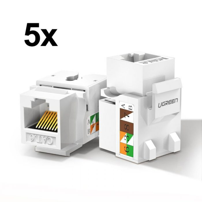 other accessories - ugreen 5x unshielded network modules ethernet cat 6 8p8c rj45 1000 mbps 568a/b white (80179 nw143) - 1 - krytarna.cz