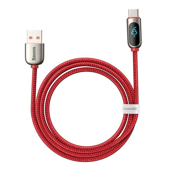 usb-c - usb-a - baseus display cable usb to type-c 5a 1m (red) - 3 - krytarna.cz