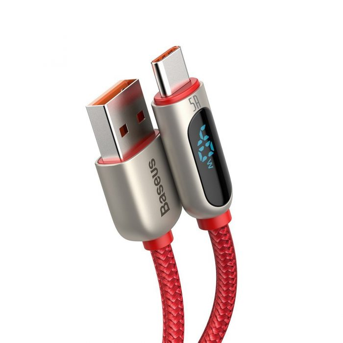 usb-c - usb-a - baseus display cable usb to type-c 5a 1m (red) - 4 - krytarna.cz