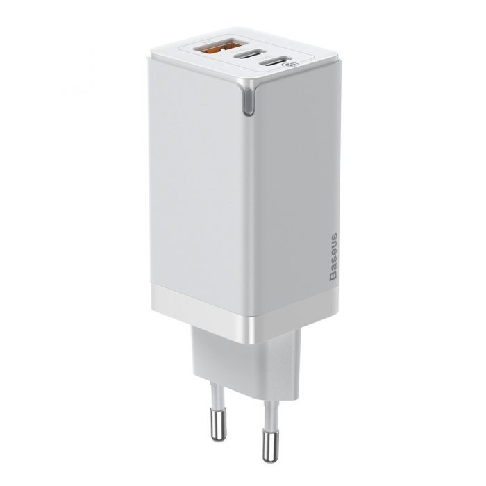 wall chargers - baseus gan pro quick travel charger c+c+a 65w eu white - 1 - krytarna.cz