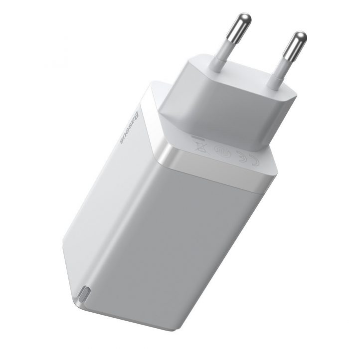 wall chargers - baseus gan pro quick travel charger c+c+a 65w eu white - 2 - krytarna.cz