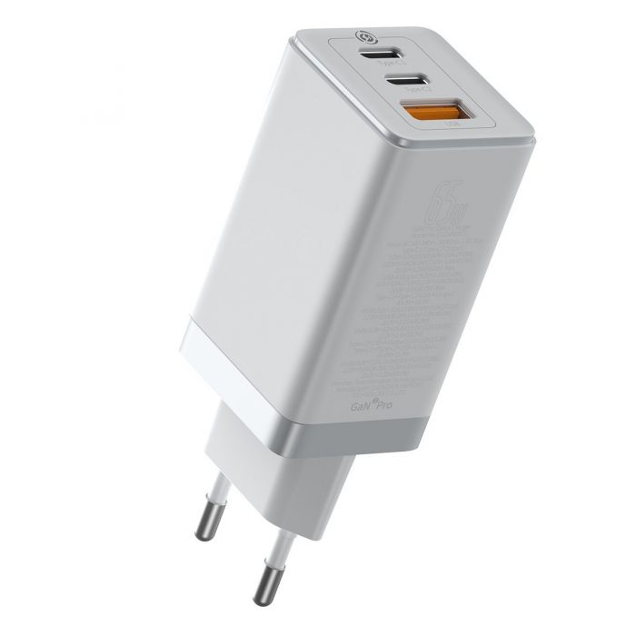 wall chargers - baseus gan pro quick travel charger c+c+a 65w eu white - 3 - krytarna.cz