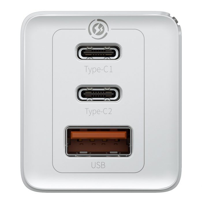 wall chargers - baseus gan pro quick travel charger c+c+a 65w eu white - 4 - krytarna.cz