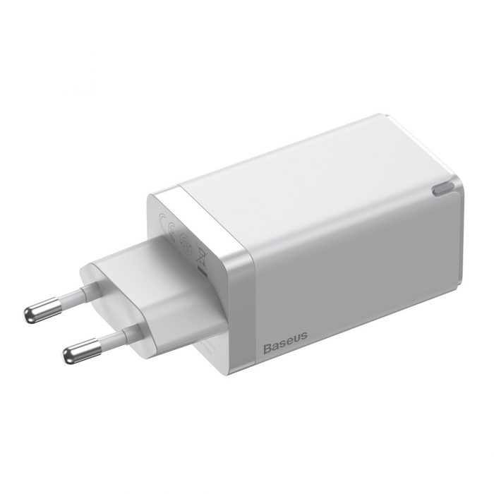 wall chargers - baseus gan pro quick travel charger c+c+a 65w eu white - 5 - krytarna.cz