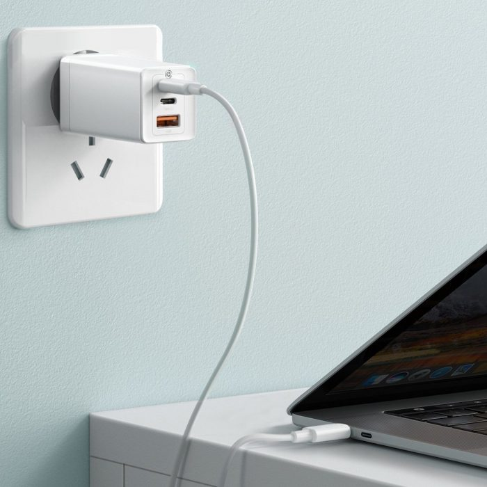 wall chargers - baseus gan pro quick travel charger c+c+a 65w eu white - 9 - krytarna.cz