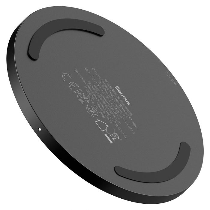 wireless chargers - baseus simple 15w wireless induction charger with magnet (black) - 3 - krytarna.cz