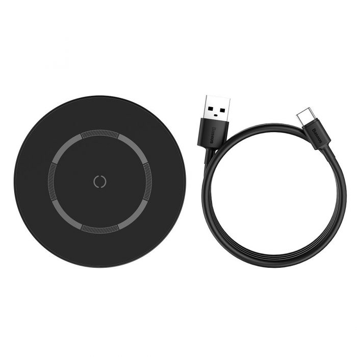 wireless chargers - baseus simple 15w wireless induction charger with magnet (black) - 6 - krytarna.cz