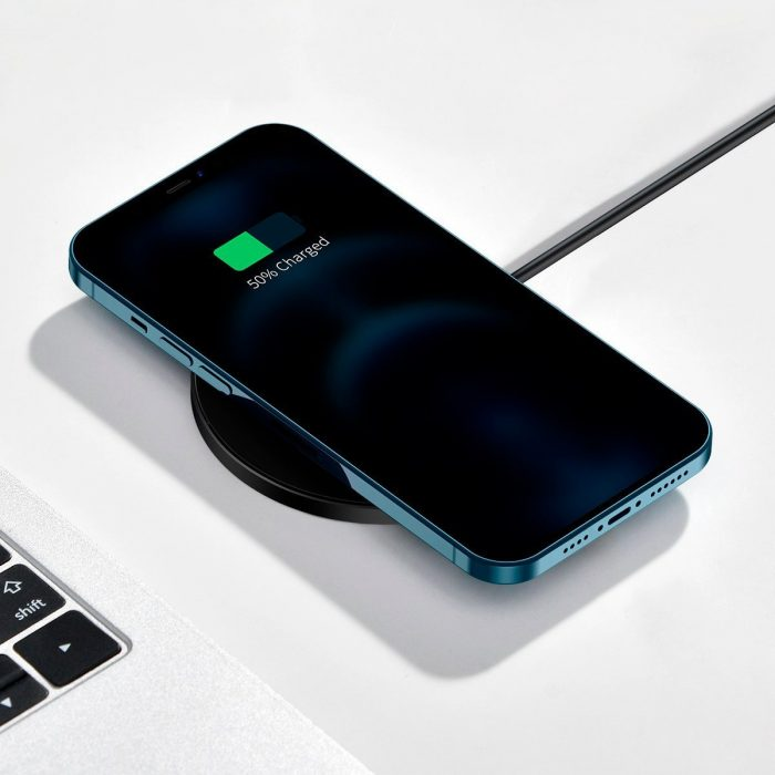 wireless chargers - baseus simple 15w wireless induction charger with magnet (black) - 8 - krytarna.cz
