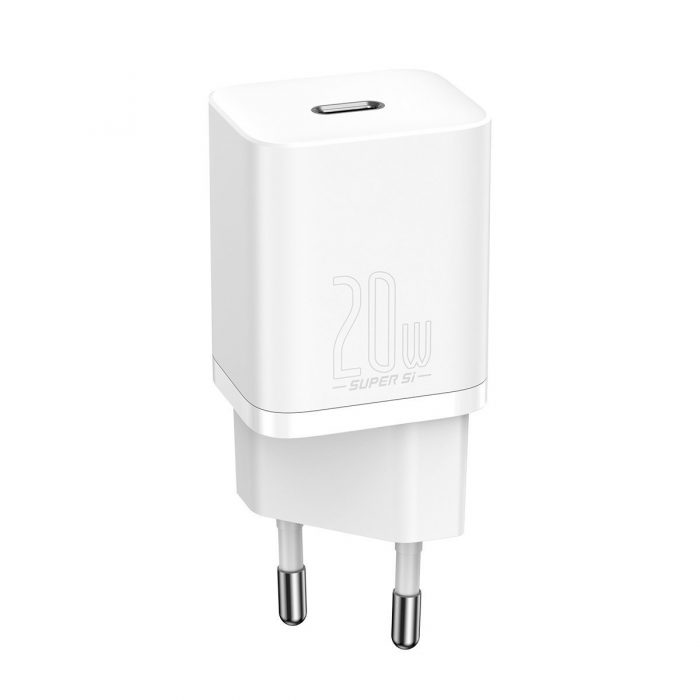 wall chargers - baseus super si quick charger 1c 20w (white) - 1 - krytarna.cz