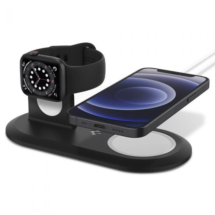 wireless chargers - spigen magfit duo apple magsafe & apple watch charger stand black - 2 - krytarna.cz