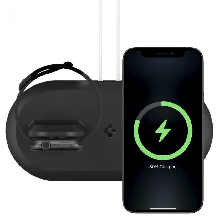 wireless chargers - spigen magfit duo apple magsafe & apple watch charger stand black - 3 - krytarna.cz