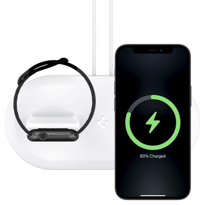 wireless chargers - spigen magfit duo apple magsafe & apple watch charger stand white - 3 - krytarna.cz