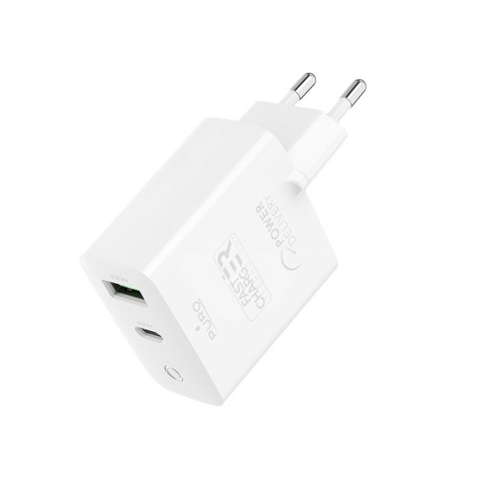wall chargers - puro mini fast travel charger usb-a + usb-c power delivery 32w (white) - 3 - krytarna.cz
