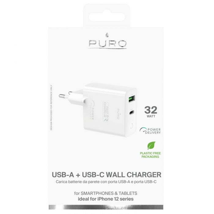 wall chargers - puro mini fast travel charger usb-a + usb-c power delivery 32w (white) - 4 - krytarna.cz