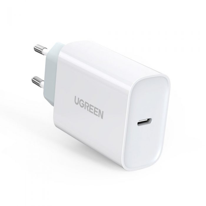 wall chargers - ugreen fast wall charger travel adapter usb typ c power delivery 30 w quick charge 4.0 white (70161) - 1 - krytarna.cz