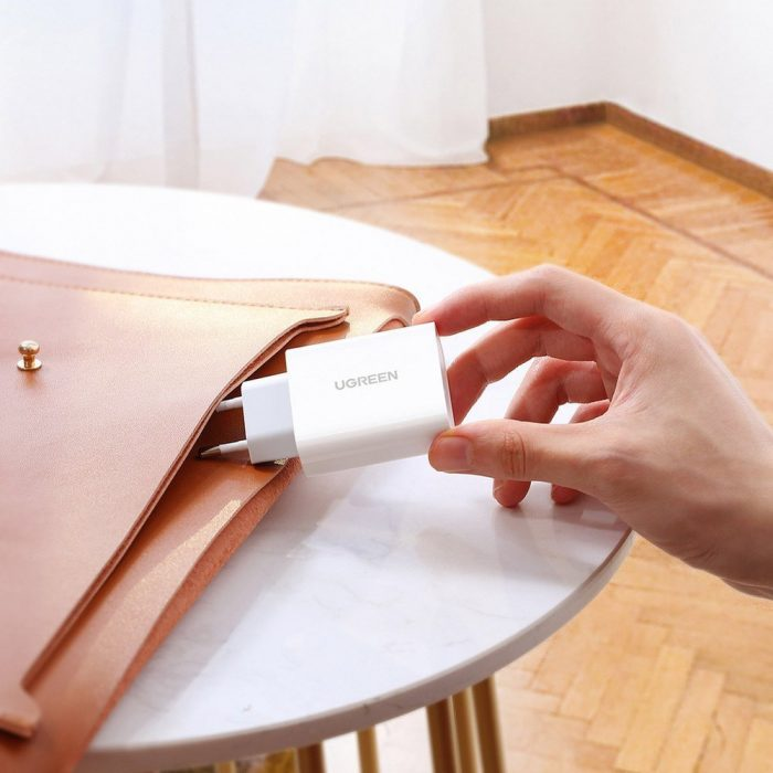 wall chargers - ugreen fast wall charger travel adapter usb typ c power delivery 30 w quick charge 4.0 white (70161) - 7 - krytarna.cz