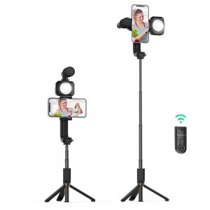 Mounts - Stable Tripod Selfie Stick BlitzWolf BW-BS15 with Fill Light and Microphone - 1 - krytarna.cz