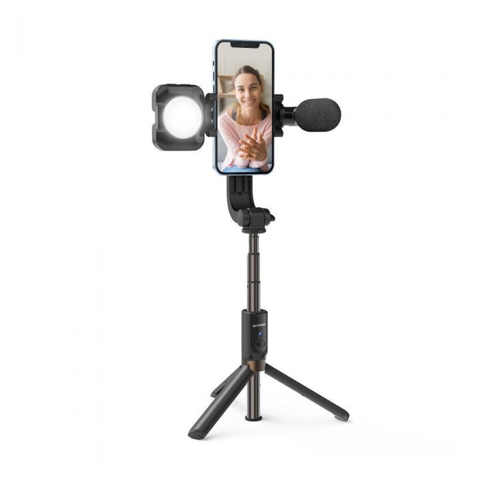 mounts - stable tripod selfie stick blitzwolf bw-bs15 with fill light and microphone - 2 - krytarna.cz