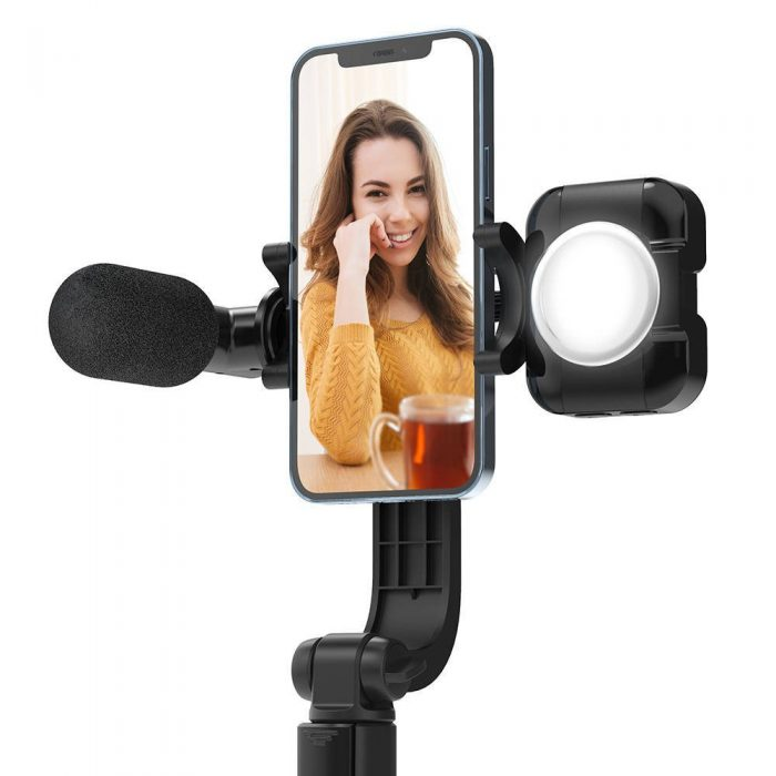 mounts - stable tripod selfie stick blitzwolf bw-bs15 with fill light and microphone - 4 - krytarna.cz