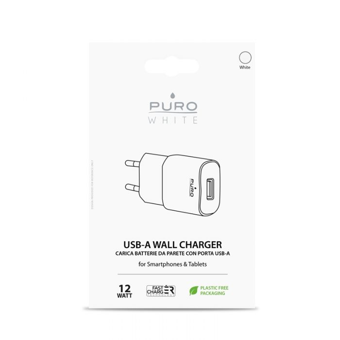 wall chargers - puro white mini travel fast charger usb-a 12 w (white) - 2 - krytarna.cz