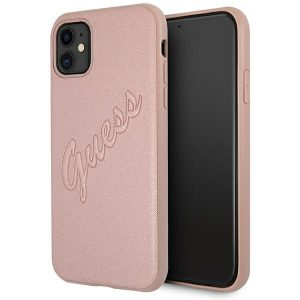 iphone 11 - guess guhcn61rsavsrg apple iphone 11 pink hardcase saffiano vintage script - 1 - krytarna.cz