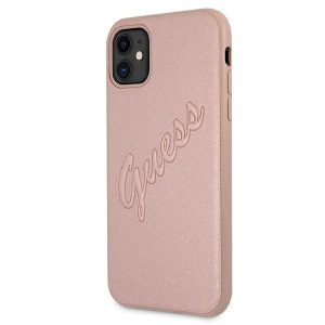 iphone 11 - guess guhcn61rsavsrg apple iphone 11 pink hardcase saffiano vintage script - 2 - krytarna.cz