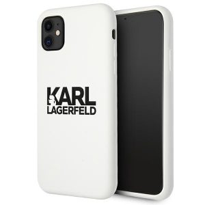 iphone 11 - karl lagerfeld klhcn61slklwh apple iphone 11 silicone stack logo white - 1 - krytarna.cz