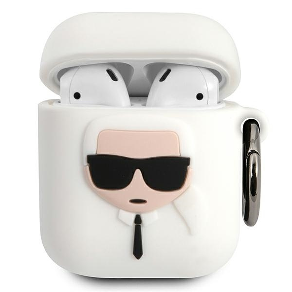 airpods - karl lagerfeld klaccsilkhwh apple airpods cover white silicone ikonik - 1 - krytarna.cz