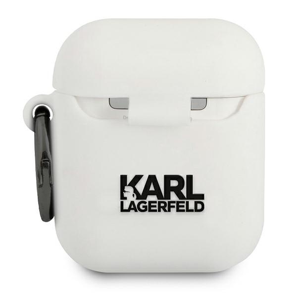 airpods - karl lagerfeld klaccsilkhwh apple airpods cover white silicone ikonik - 2 - krytarna.cz