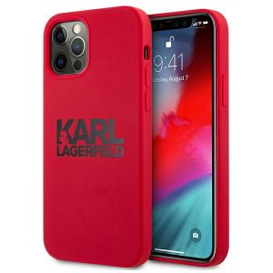 iPhone 12 Pro Max - Karl Lagerfeld KLHCP12LSLKLRE Apple iPhone 12 Pro Max Silicone Stack Logo red - 1 - krytarna.cz
