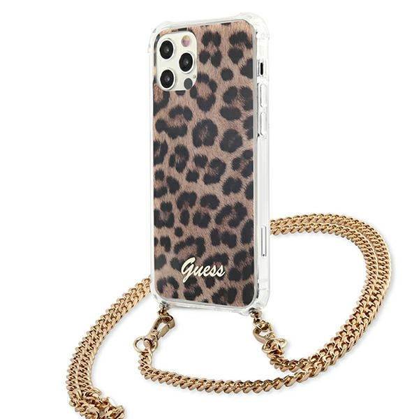 iphone 12 pro max - guess guhcp12lkcleo apple iphone 12 pro max leopard hardcase gold strap - 2 - krytarna.cz