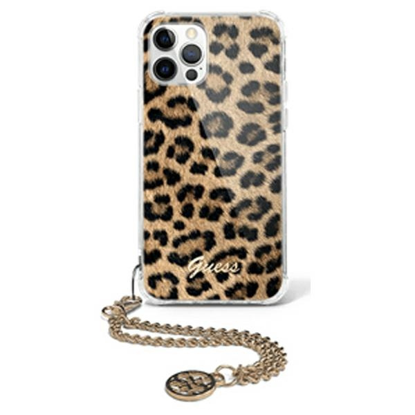 iphone 12 pro max - guess guhcp12lksleo apple iphone 12 pro max leopard hardcase gold chain - 1 - krytarna.cz