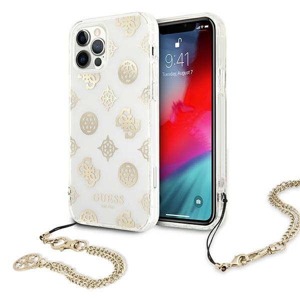 iphone 12 pro max - guess guhcp12lkspego apple iphone 12 pro max gold hardcase peony chain collection - 1 - krytarna.cz