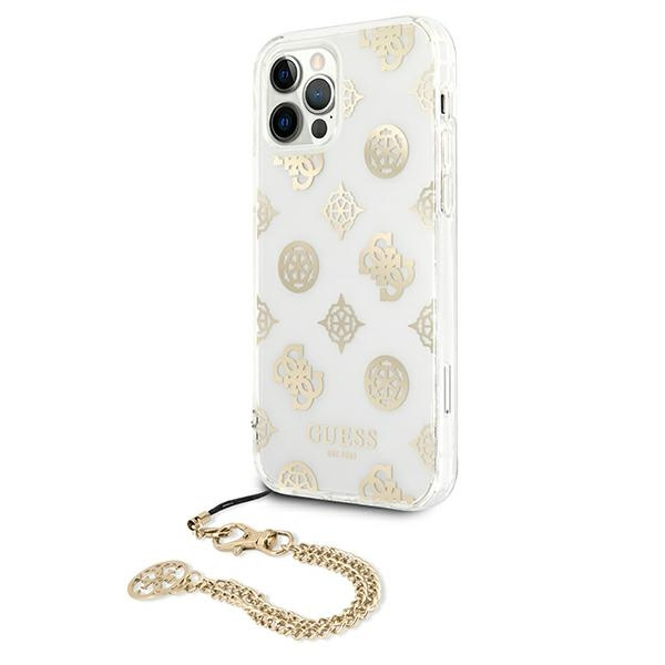 iphone 12 pro max - guess guhcp12lkspego apple iphone 12 pro max gold hardcase peony chain collection - 2 - krytarna.cz
