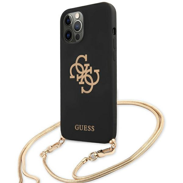 iphone 12 pro max - guess guhcp12llsc4gbk apple iphone 12 pro max black hardcase 4g gold chain collection - 2 - krytarna.cz