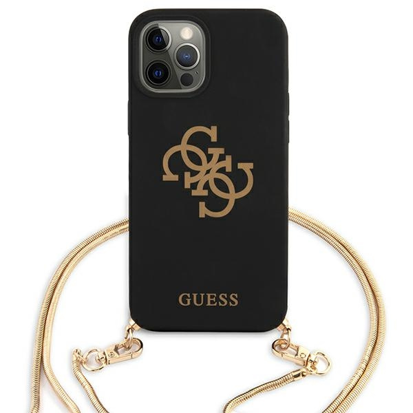 iphone 12 pro max - guess guhcp12llsc4gbk apple iphone 12 pro max black hardcase 4g gold chain collection - 3 - krytarna.cz